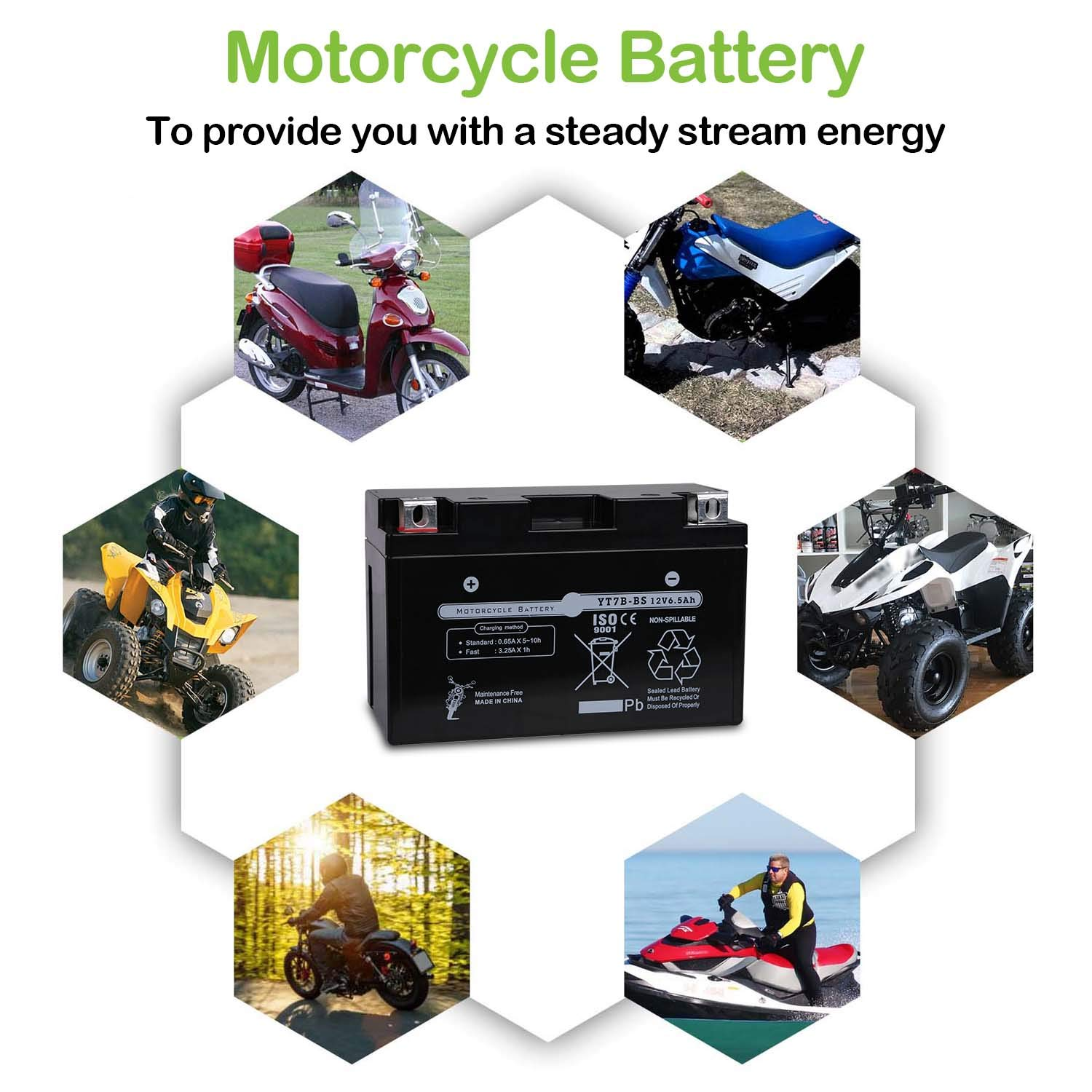 Weize YTX7B-BS Battery High Performance Sealed AGM Motorcycle Battery YT7B BS For Yamaha ATV Maintenance Free