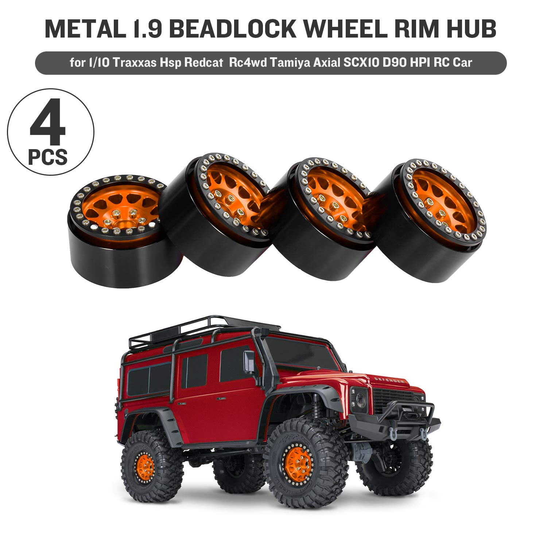 Yellow GoolRC 4PCS Metal 1.9 Beadlock Wheel Rim Hub for 1//10 Traxxas Hsp Tamiya Axial SCX10 D90 HPI RC Car