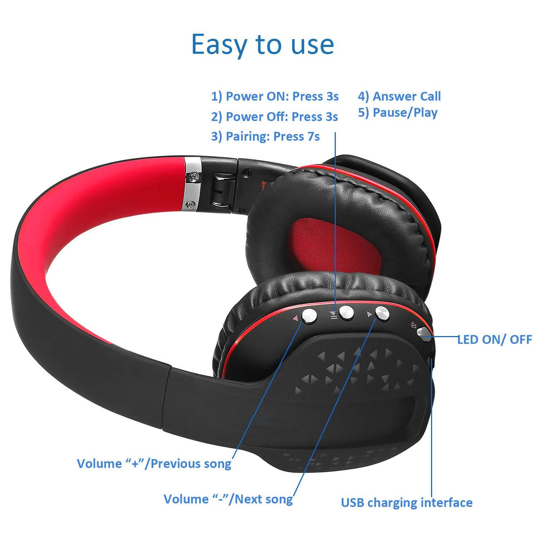 Mengshen Auriculares inalámbricos con Auriculares Plegables - con micrófono, cómodas Orejeras y LED Fresco - Diseñados para Deportes al Aire ...