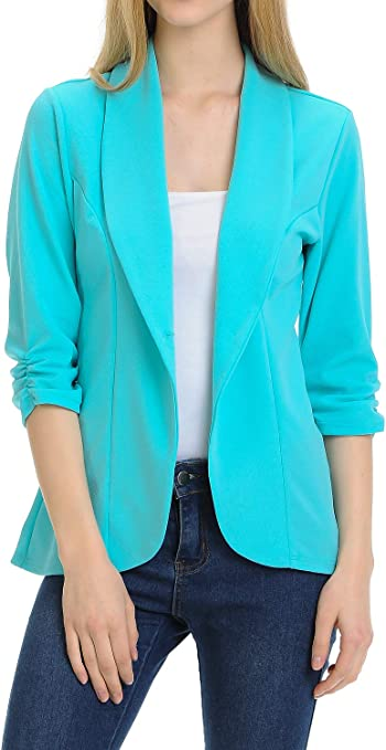 Women's Ruched Sleeve Lightweight Office Blazer Jacket
