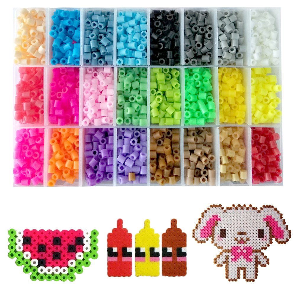 Fuse Beads Kit - Includes 24-cell 5mm Colored iron Beads(about 5500 beads), a Square and a Five-pointed Star Plate, 5 Lroning Paper,2 Tweezers and 5 Other Small Accessories Beads for Kids HUATK