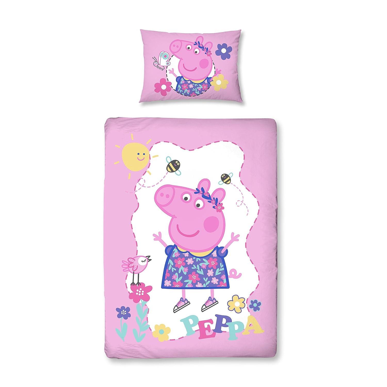 Violet//rose Parure de lit r/éversible pour enfant Housse de coussin 100 /% coton 40 x 60 cm Peppa Pig avec fermeture /Éclair Housse de couette 100 /% coton 100 x 135 cm