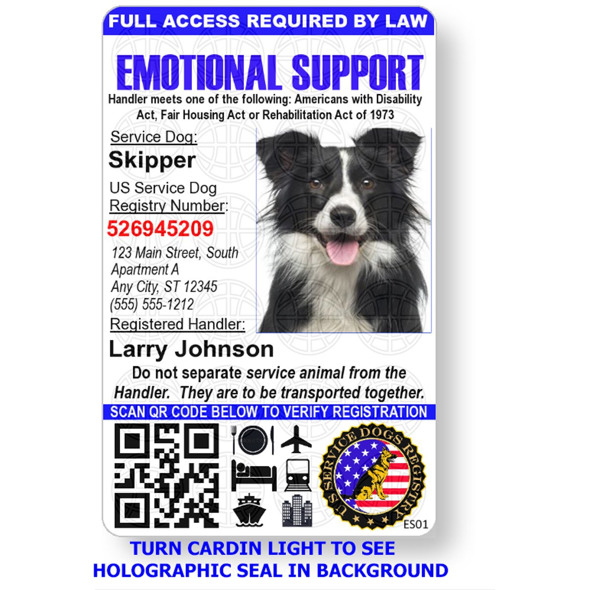 Just 4 Paws Custom Holographic QR Code Emotional Support Dog ID Card with Registration to Service Dogs Registry with Strap - Portrait Style by Just 4 Paws (Image #3)