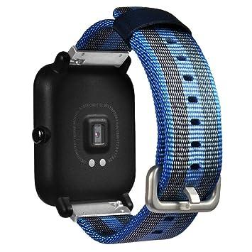 Reloj correas para Xiaomi huami amazfit bip jóvenes reloj, vneirw nailon pulsera de repuesto Watchbands, color azul: Amazon.es: Deportes y aire libre