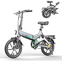 HITWAY Bicicleta eléctrica, Ligera, 250 W, Plegable, eléctrica, con Asistencia de Pedal, con batería de 7,5 Ah, 16…