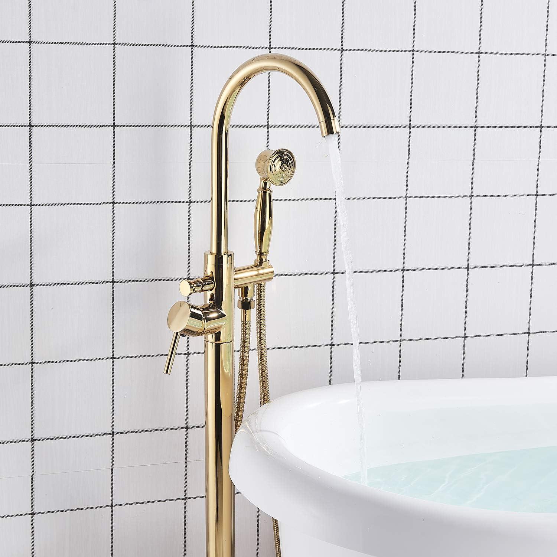 Senlesen Floor Mounted Tub Filler Faucet with Handshower Gold Polished