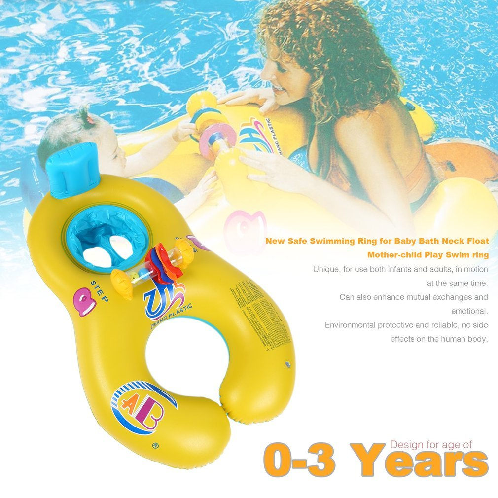 Povkeever Dual Person Mother and Baby Safety Kids Swim Float Rings, Inflatable Baby Pool Float Boat for Family Activities