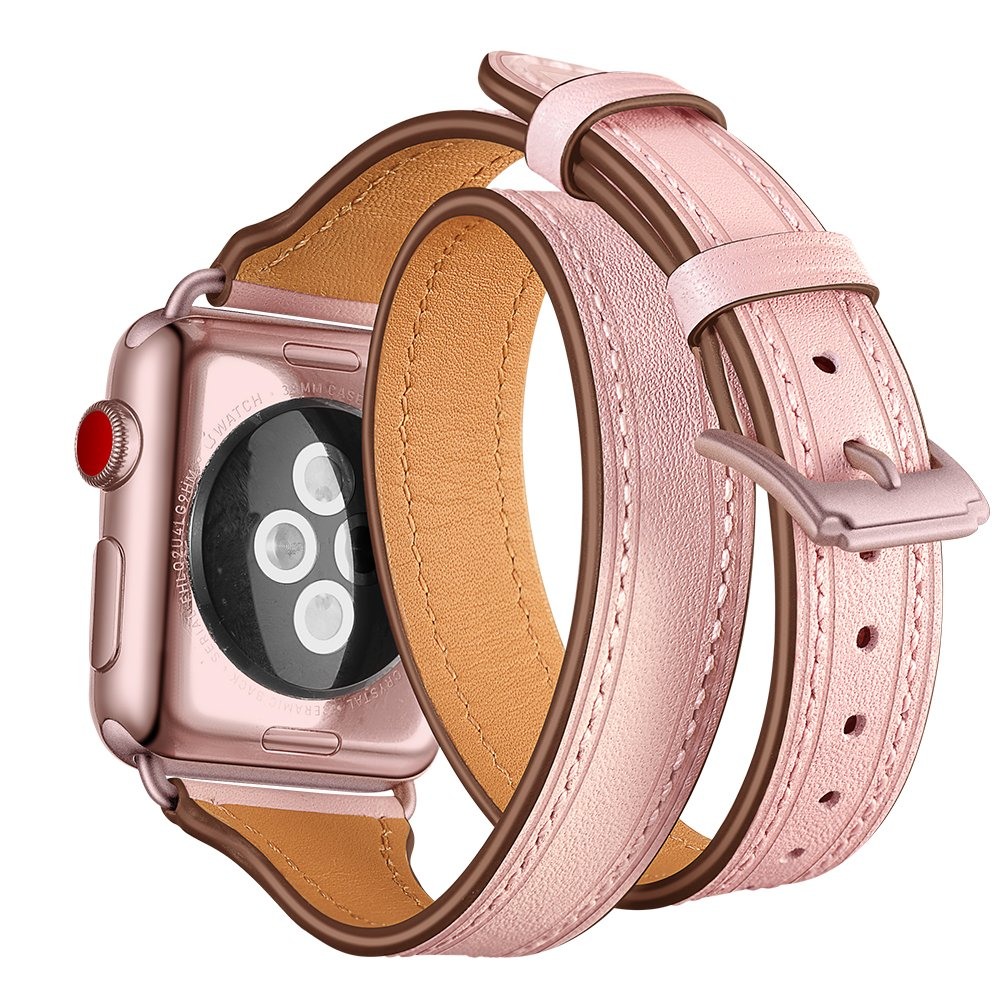 Elobeth Compatible With Apple Watch Band 38mm 40mm Series 5 4 3 2 1 Leather Iwatch Band Women Girls 38mm 40mm Pink Amazon In Electronics
