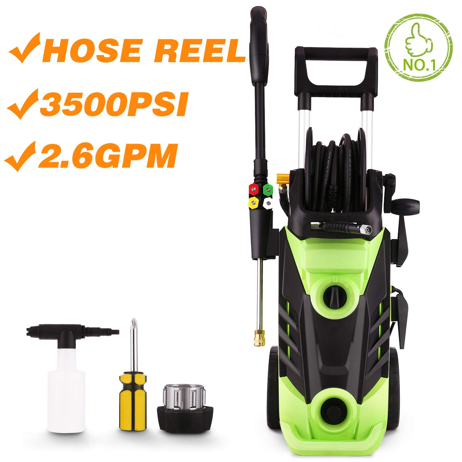 Homdox 3500 PSI Electric Pressure Washer, 1800W Power Washer, 2.6GPM High Pressure Washer, Professional Washer Cleaner Machine with 4 Interchangeable Nozzles,Hose with Reel,Green
