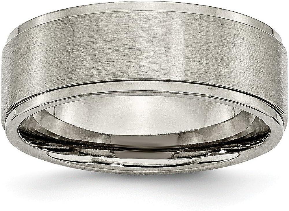 Titanium Size Jay Seiler Titanium Ridged Edge 8mm Brushed and Polished Band 7.5