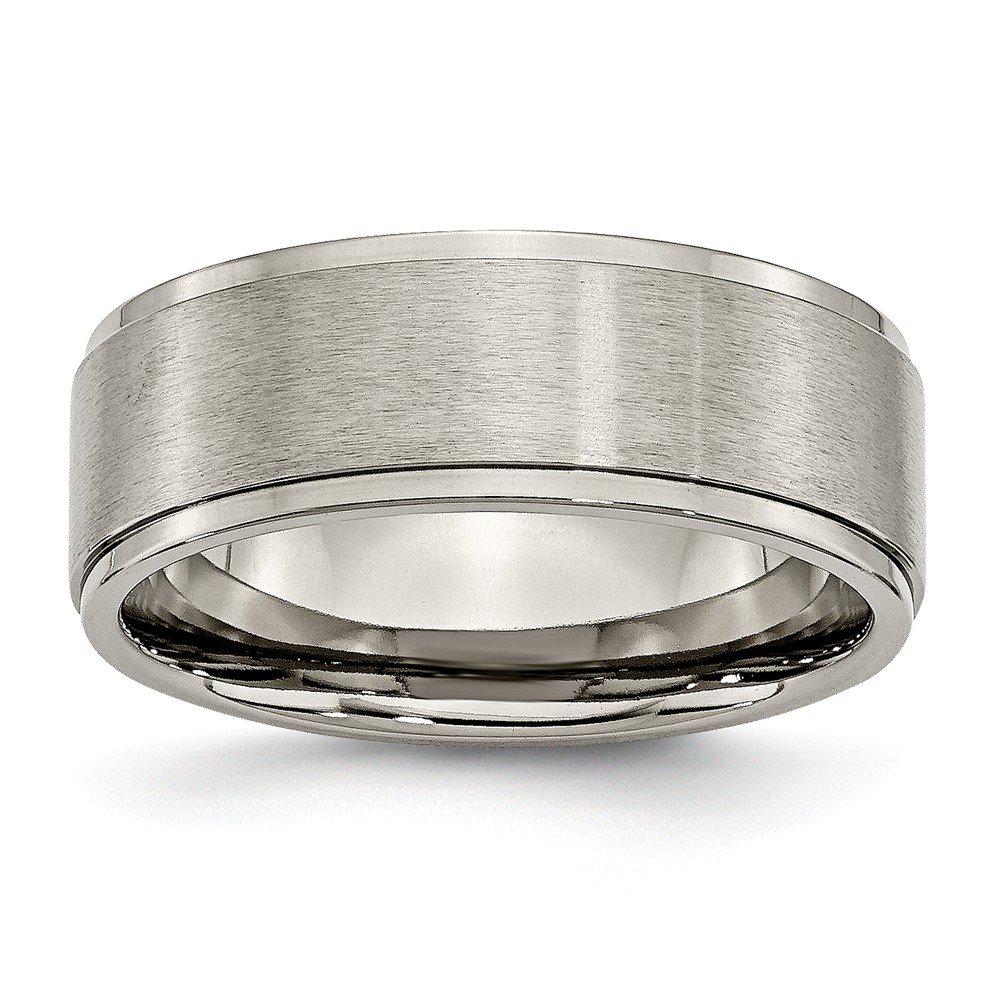 Wedding Bands Classic Bands Flat Bands w//Edge Titanium Beveled Edge 8mm Polished Band Size 12.5