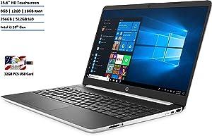 "New HP 15.6"" HD Touchscreen Laptop Intel Core i3-1005G1 8GB DDR4 RAM 256GB SSD HDMI Bluetooth 802.11/b/g/n/ac Windows 10 Silver Bonus 32GB PCS USB Card"