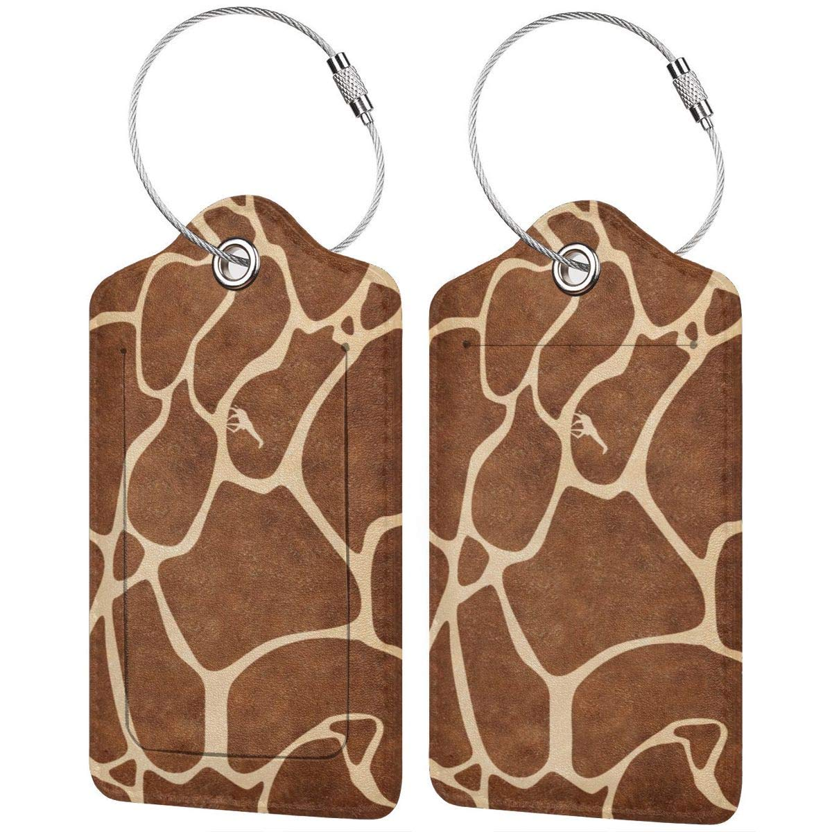Giraffe Pattern Travel Luggage Tags With Full Privacy Cover Leather Case And Stainless Steel Loop