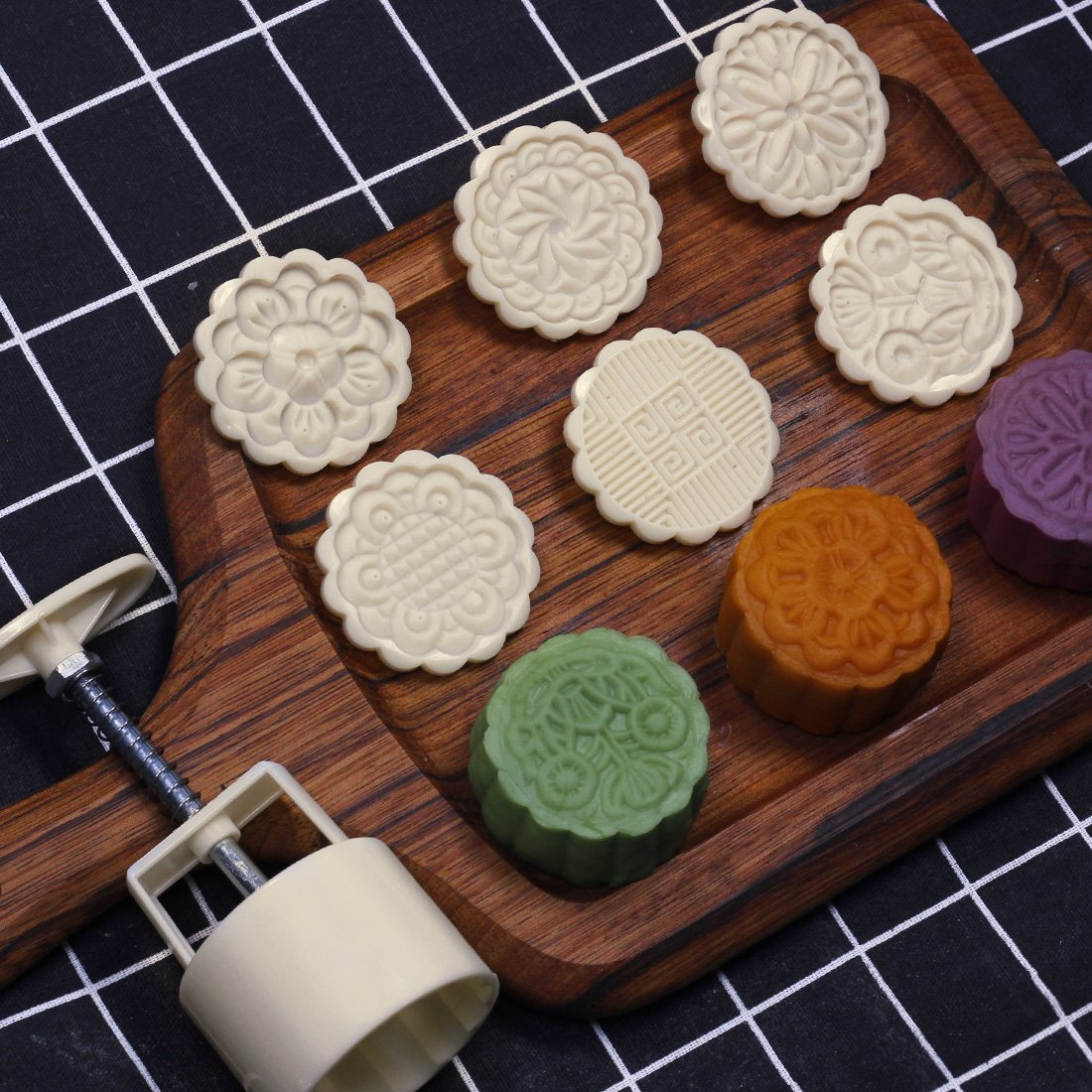 75g Cookie Stamps Moon Cake Mold with 6 Stamps, Cookie Press Mid Autumn Festival DIY Decoration Press Cake Cutter Mold DLT LLC-055