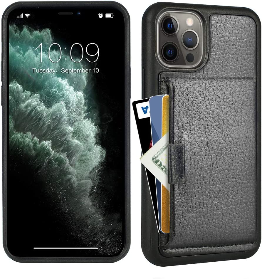ZVE Wallet Case Compatible with iPhone 12 Pro Max (2020), Slim Purse Case with Card Holder Slot Protective Leather Cover Compatible with iPhone 12 Pro Max, 6.7 inch-Black