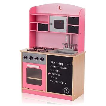 Baby Vivo Kinderküche Spielküche aus Holz Kinderspielküche Küche ...