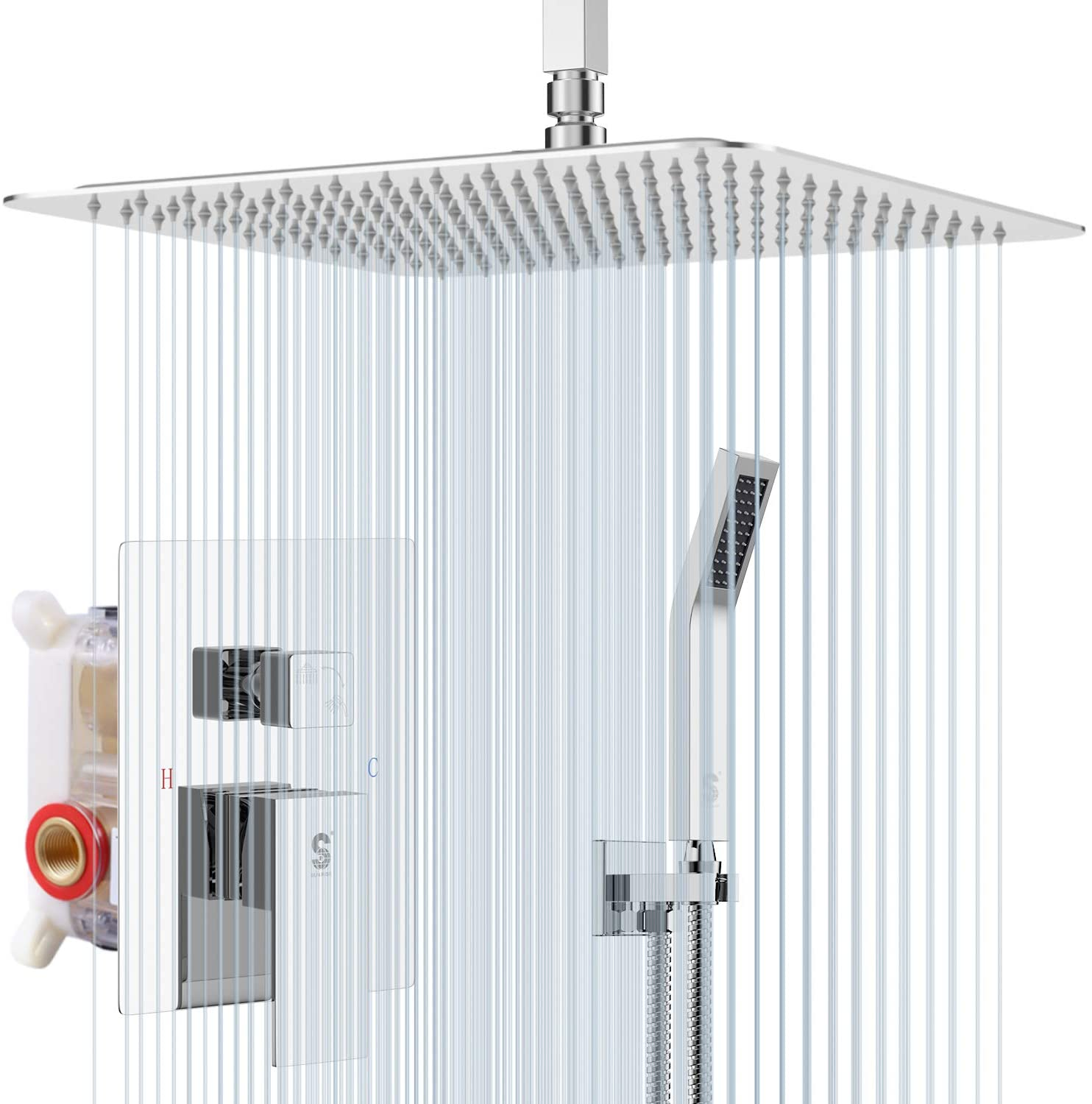 SR SUN RISE 12 Inch Ceiling Mounted Shower System Rain Mixer Shower Combo Set Rainfall Shower Head System Polished Chrome Shower Faucet Rough-in Valve Body and Trim Included
