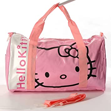 d916cb322413 Hello Kitty Patent Leather Duffle Gym Travel Bag Tote Shoulder Pink ...