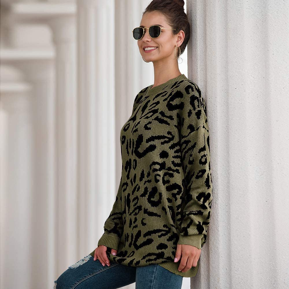 Tr/ès Chic Mailanda Womens Leopard Print Sweaters Pullover Oversized Long Sleeve Casual Loose Crew Neck Tunic Knitted Jumper