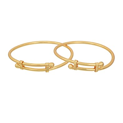 d901982ddf41a Memoir Yellow Gold Plated Brass Open End Bangle Nazariya for Baby Boys and  Girls 0-2 Years  Amazon.in  Jewellery