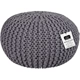 Ottomans & Footstools Round Cotton Knitted Pouffe Ball Large 50cm Foot Stool Braided Cushion Seat Rest