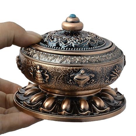 eDealMax aleación de la nube del hogar tallado de aire fresco del ornamento regalo quemador de incienso titular del tono de cobre - - Amazon.com