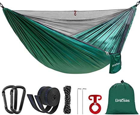 Portable Hammock with Tree Straps Camping Hammock Backyard Outdoor Lightweight Parachute Hammocks for Backpack 10+2 Loops Beach Single Travel Hammock with 210T Nylon Hiking for Kids and Adult