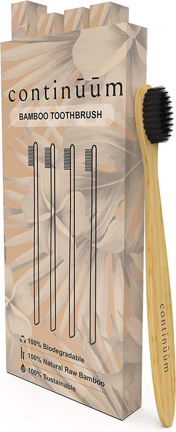 Continūūm | Juego de 4 cepillos de dientes ecológicos de bambú, cerdas suaves con carbón vegetal | robusto y biodegradable: Amazon.es: Salud y cuidado personal