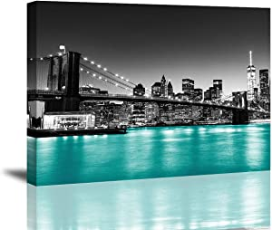 Brooklyn Bridge Canvas Wall Art Black and White New York City Night View Picture Teal Blue River Wall Decor 12 x 16 Inch