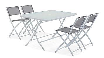 Oviala Table de Jardin et 4 chaises Pliantes en Acier et ...