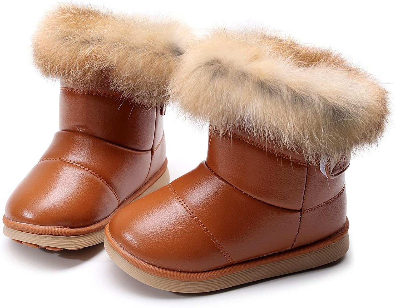 INFANTS GIRLS WINTER SNOW FUR ANKLE BOOT-LACE UP GRIP SOLE ZIPPER BOYS BOOT