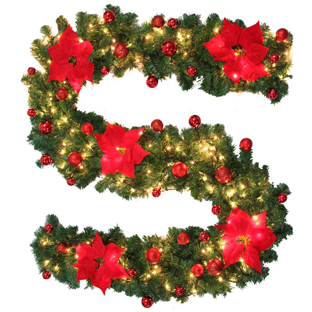 Bullstar 9 Feet Christmas Decorations Christmas Garland With Lights Artificial Wreath With Berries And Pinecones Xmas Decorations For Stairs Wall Door