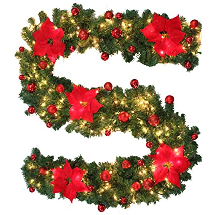 bullstar 9 feet christmas decorations christmas garland with lights artificial wreath with berries and pinecones xmas - How To Decorate A Christmas Garland