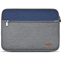 LENTION 13.3-14 Inches Water Repellent Fabric Sleeve Case Compatible MacBook Air 13 (2010-2017) - A1369/A1466, MacBook Pro 13 (Retina, 2012-2015) - A1425/A1502, Chromebook, More (Gray with Blue)
