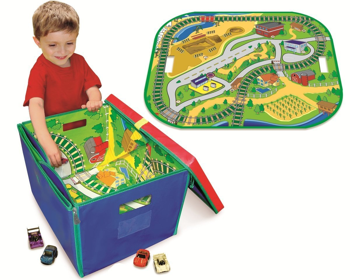 Neat-Oh! ZipBin Full Throttle Road & Rail 500 Car Toy Box & Playmat