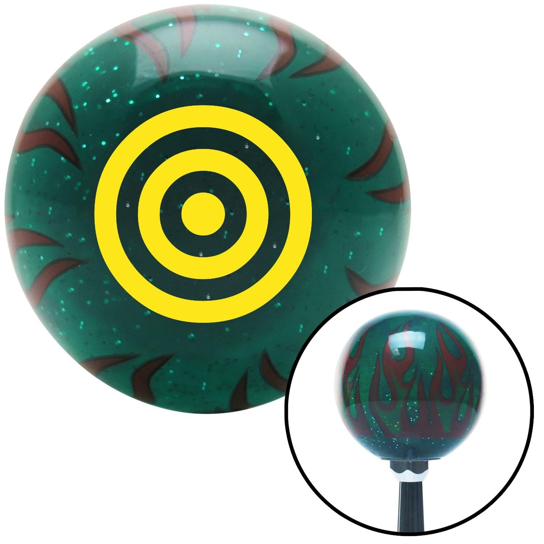 American Shifter 265255 Green Flame Metal Flake Shift Knob with M16 x 1.5 Insert Yellow Bulls Eye