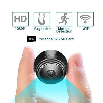 Mini cámara Alfheim 1080P HD WiFi,Incluye Tarjeta SD 32G,Vigilancia de Seguridad inalámbrica Cámara Oculta de espía con visión Nocturna,Detección de ...