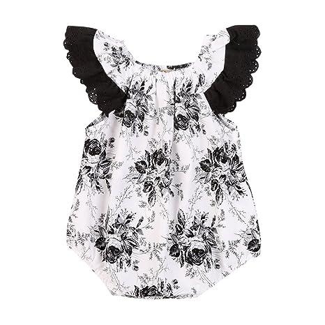 ESHOO bebé niñas diseño de flores volantes Pelele Body de una pieza negro Floral Talla: