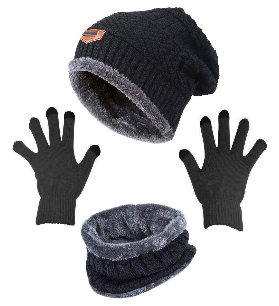Winter Beanie Hat Scarf Gloves Slouchy Snow Knit Skull Cap Infinity Scarves Touch Screen Mittens for Women