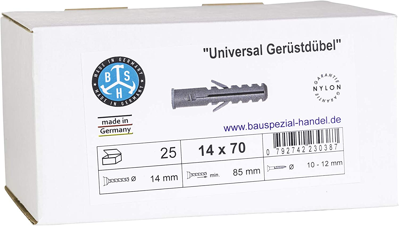 Tassello universale BSH/® 25 pezzi diametro: 14 mm made in Germany lunghezza: 70-135 mm