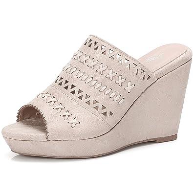 f4f18ad78ae CAMEL CROWN Women s Slip-on Wedge Sandals Perforated Open Back Slide  Platform Sandal Mule Shoes