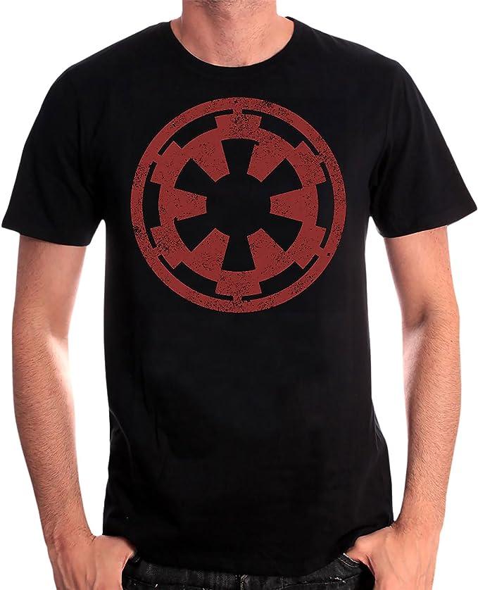 Star Wars Maglietta da Uomo Logo Galactic Empire in Cotone Nero