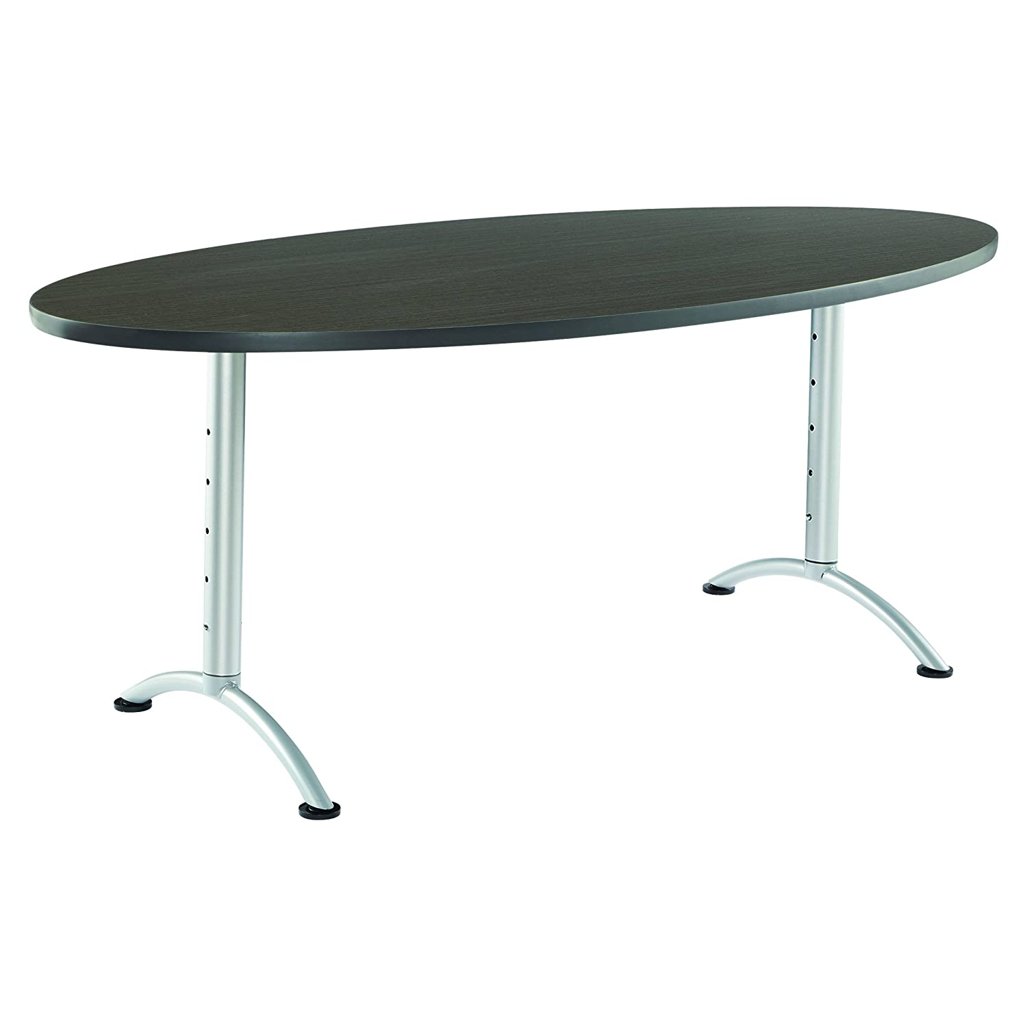 36 x 72 Iceberg ICE69625 ARC 6-foot Adjustable Height Oval Conference Table Gray Walnut//Silver Leg