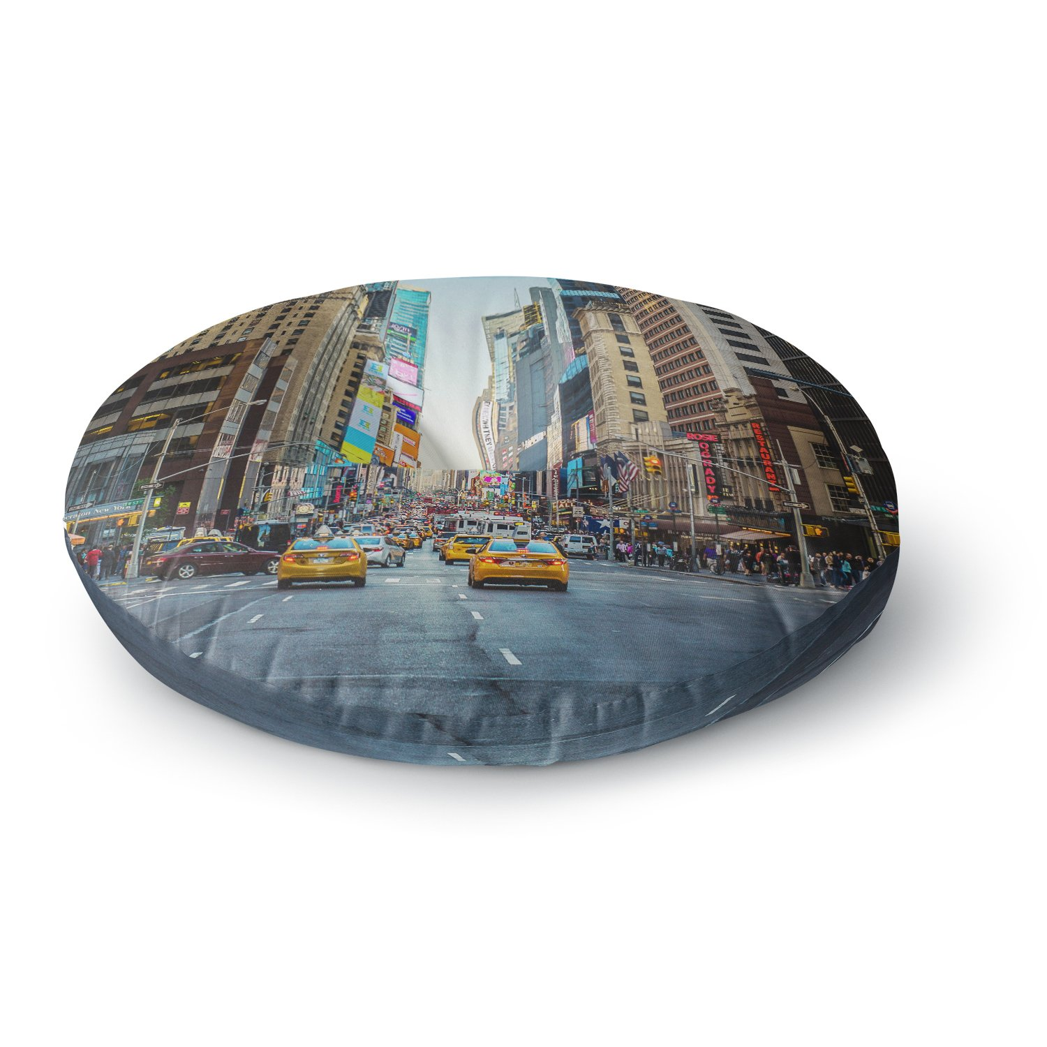 Kess InHouse Ann Barnes Sunset Over 7th Urban Photography 26 Round Floor Pillow