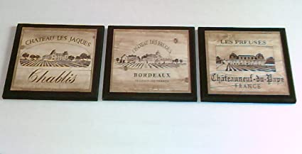 Exceptionnel Wine Crate Style Plaques, 3 Piece Set, Kitchen Wall Decor Signs, Vineyard  Scenes