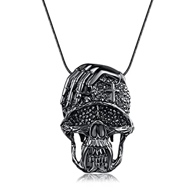 Amazon skull prayer necklace evbea punk rock jewelry gold color skull prayer necklace evbea punk rock jewelry gold color bling statement cross skeleton pendant necklace aloadofball Gallery