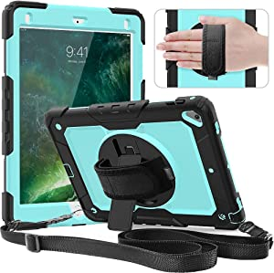 Timecity Case Compatible with iPad 6th/5th Generation,9.7 Inch 2018/2017 Case with Rotating Stand/Strap Full-Body Hybrid Armor Protective Case Replacement for iPad 5th/6th Gen/Air 2/ Pro 9.7 SkyBlue