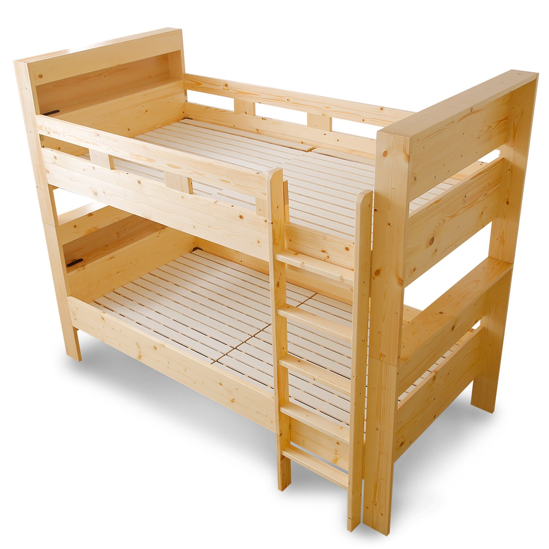 LOWYA (ロウヤ) 二段ベッド すのこ 上下段切り離し可能 下段高さ3段階調節 宮付き コンセント 間接照明 天然木パイン材 シングルベッド ナチュラル おしゃれ 新生活 B06XBN7CSD ナチュラル