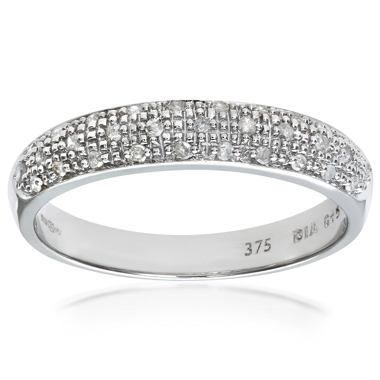Naava 9ct White Gold Diamond Eternity Ladies Ring Amazoncouk