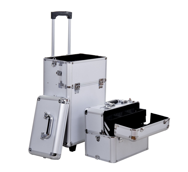 HOMCOM Pro 3 in 1 Portable Aluminum Makeup Train Cases Rolling Cosmetic Organizer Box, Black (Black) Aosom Canada 81-0001